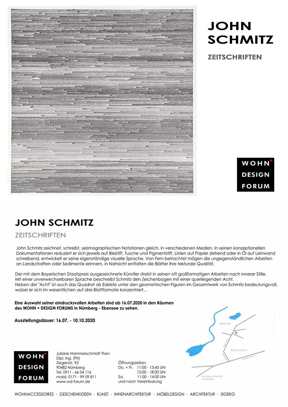 Einladung John Schmitz | Wohn Design Forum Nürnberg | 2020